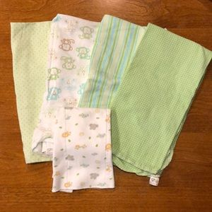 Other - 4 Receiving Blankets, 1 Burp Cloth